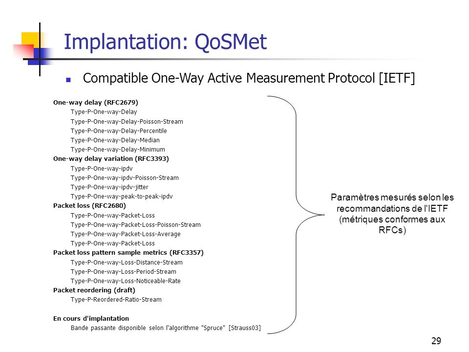 Implantation: QoSMet Compatible One-Way Active Measurement Protocol [IETF] One-way delay (RFC2679)